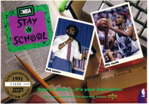 1991 Upper Deck Stay in School 5x7 commemorative card sheet (Bob Lanier Otis Smith)
