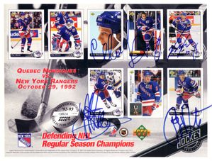 1992-93 New York Rangers autographed Upper Deck card sheet (Tony Amonte Jeff Beukeboom Tie Domi Sergei Nemchinov)