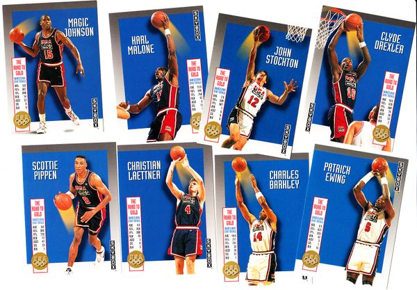 1992-93 SkyBox USA Dream Team partial insert set (Charles Barkley Magic Johnson Karl Malone Scottie Pippen John Stockton)