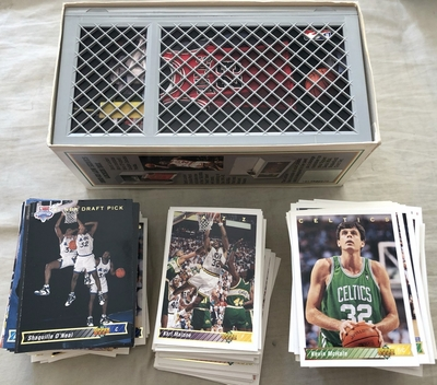 1992-93 Upper Deck NBA basketball near card set with 2 Shaquille O'Neal RCs in Michael Jordan Locker Series box