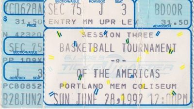 1992 Basketball Tournament of the Americas USA Dream Team Debut game ticket stub