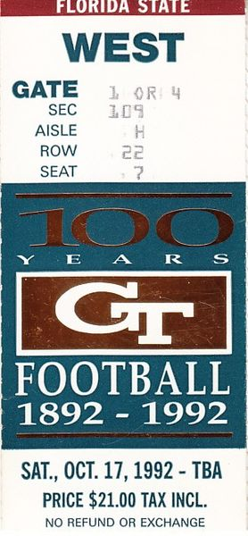 1992 Florida State Seminoles at Georgia Tech college football ticket stub (Charlie Ward)