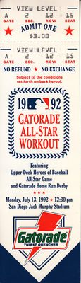 1992 MLB All-Star Workout Day and Home Run Derby full unused ticket (Mark McGwire winner)