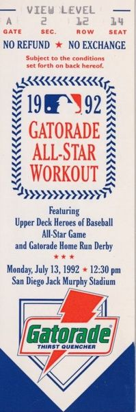 1992 MLB All-Star Workout Day and Home Run Derby ticket stub (Mark McGwire winner)