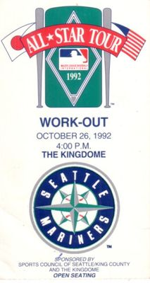 1992 MLB Japan All-Star Tour Workout Day ticket stub (at Seattle Mariners Kingdome)