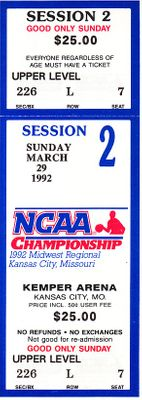 1992 NCAA Tournament Midwest Regional Semifinals and Final full unused tickets (Cincinnati advances to Final 4)