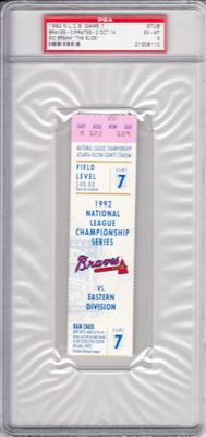 1992 NLCS Game 7 ticket stub graded PSA 6 (The Slide by Sid Bream sends Atlanta Braves to the World Series)