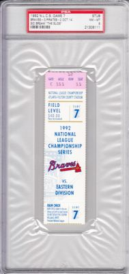 1992 NLCS Game 7 ticket stub graded PSA 8 (The Slide by Sid Bream sends Atlanta Braves to the World Series)
