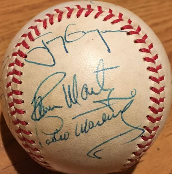 1992 Oakland A's and All-Stars autographed NL baseball (Dennis Eckersley Tony Gwynn Tony LaRussa Pedro Martinez)