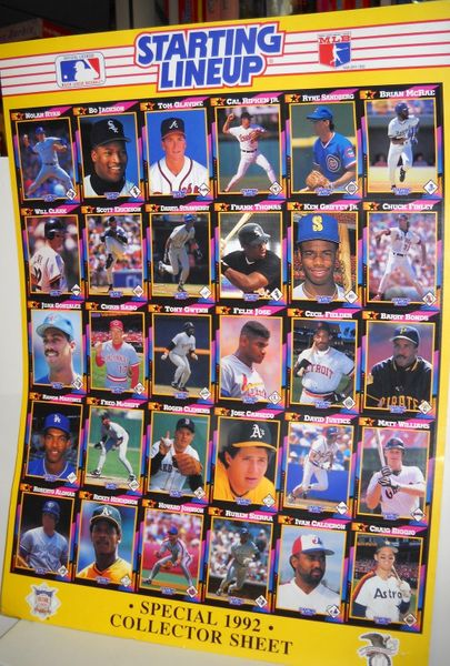 1992 Kenner Starting Lineup Baseball Card poster size uncut collector sheet
