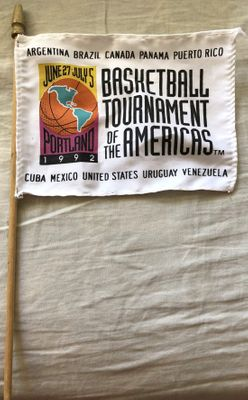 1992 Basketball Tournament of the Americas mini flag (USA Dream Team debut)