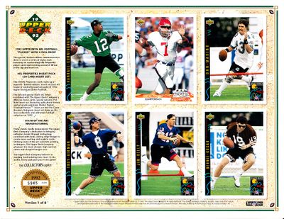 1992 Upper Deck football promo card sheet Troy Aikman Randall Cunningham Jim Kelly Bernie Kosar Dan Marino #5945/8000