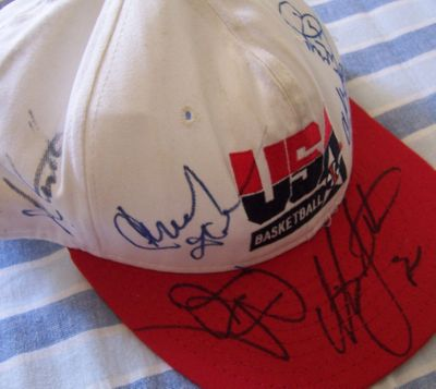 1992 USA Dream Team autographed cap or hat (Charles Barkley Larry Bird Chuck Daly Christian Laettner Chris Mullin John Stockton)