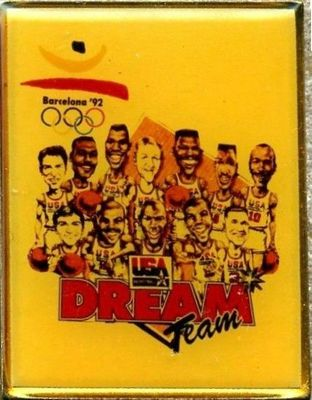 1992 USA Dream Team basketball original caricature pin