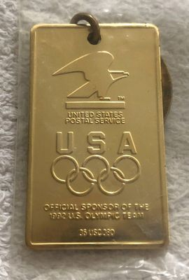 Team USA 1992 Olympics US Postal Service gold keychain NEW