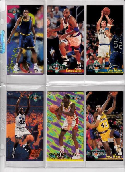 1993-94 Fleer Jam Session lot of 6 cards (Charles Barkley Shaquille O'Neal Slam Dunk Heroes Chris Webber Rookie Standouts)