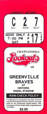 1993 Chattanooga Lookouts vs. Greenville Braves ticket stub (Eddie Perez Pokey Reese)