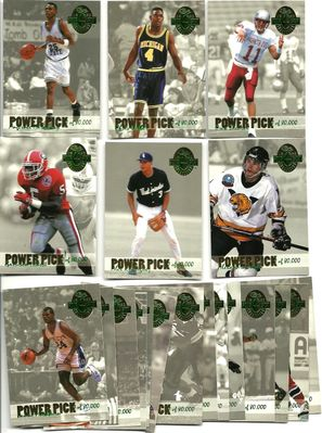 1993 Classic 4-Sport Power Pick complete 20 insert card set (Jerome Bettis Chris Pronger Alex Rodriguez Chris Webber)
