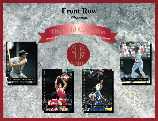 1993 Front Row Gold Collection card sheet (Ken Griffey Jr. Tom Gugliotta Brooks Robinson)