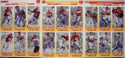 1993 Kansas City Chiefs autographed McDonald's GameDay card sheet set (Albert Lewis Christian Okoye Tracy Simien Neil Smith)