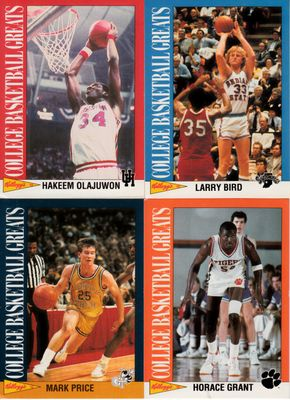 1992 Kellogg's College Basketball Greats lot of 4 cards (Larry Bird Horace Grant Hakeem Olajuwon Mark Price)