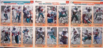 1993 Miami Dolphins team autographed McDonald's GameDay card sheet set (Bryan Cox Irving Fryar O.J. McDuffie John Offerdahl)