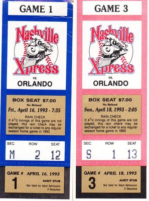 1993 Nashville Xpress vs. Orlando Cubs lot of 2 different ticket stubs