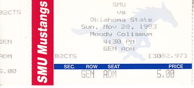 1993 Oklahoma State Cowboys at SMU college basketball ticket stub (Bryant Reeves)