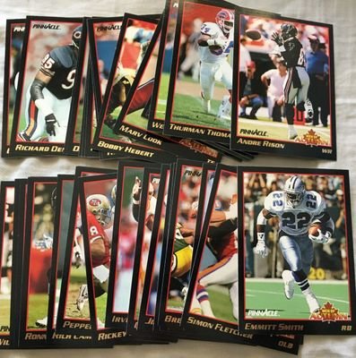 1993 Pinnacle Men of Autumn near complete football insert card set (Emmitt Smith)