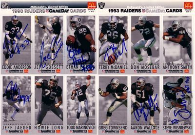 1993 Raiders autographed McDonald's GameDay card sheets (Terry McDaniel Steve Wisniewski)