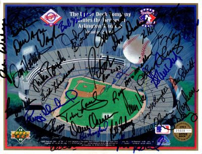 1993 Texas Rangers Heroes Upper Deck card sheet autographed by 34 (Toby Harrah Pete O'Brien Jim Sundberg)