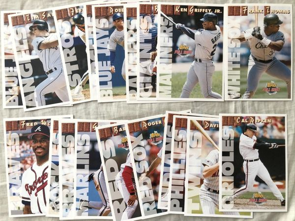 1993 Topps Full Shots jumbo insert card near complete set (Ken Griffey Jr. Mike Piazza Cal Ripken)