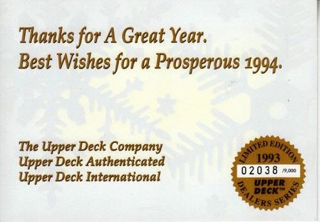 1993 Upper Deck Seasons Greetings jumbo card #2038/9000