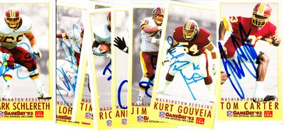 1993 Washington Redskins autographed McDonald's Gameday cards (Kurt Gouveia Jim Lachey Mark Schlereth)