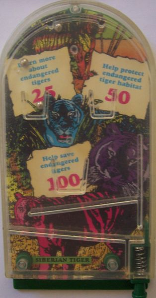 1993 Wendy's Endangered Tigers mini pinball toy or game