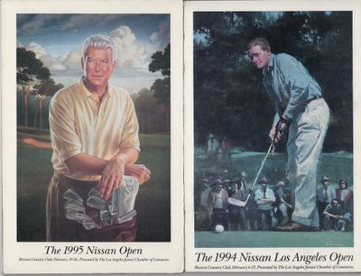 1994 1995 1996 1997 Nissan Los Angeles Open art covers mounted on foamcore (Ben Hogan Ken Venturi Byron Nelson Billy Casper)