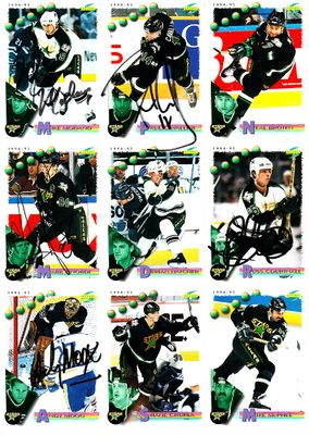 1994-95 Dallas Stars autographed card sheet (Mike Modano Andy Moog Mark Tinordi)