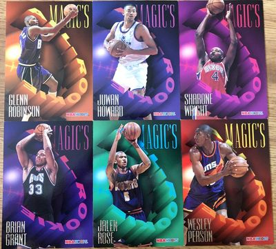 1994-95 NBA Hoops Magic's All-Rookie Team jumbo 5x7 partial set (Brian Grant Juwan Howard Glenn Robinson Jalen Rose)