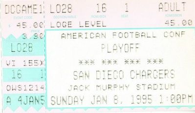 1994 San Diego Chargers vs. Miami Dolphins AFC Divisional Playoff game ticket stub