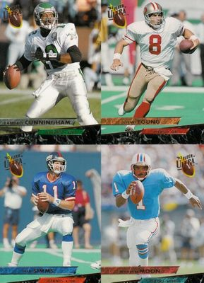 1994 Fleer Ultra football uncut panel of 4 cards (Randall Cunningham Warren Moon Phil Simms Steve Young)