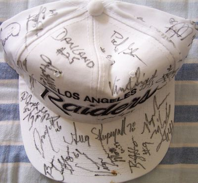 1994 Raiders team autographed cap or hat (Willie Brown Vince Evans James Jett Napoleon McCallum Jim Otto)