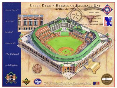 1994 Texas Rangers Heroes of Baseball Upper Deck sheet & ticket