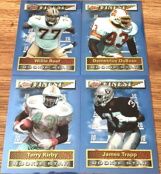 1994 Topps Finest Jumbo Rookies lot of 4 cards (Terry Kirby Willie Roaf James Trapp)