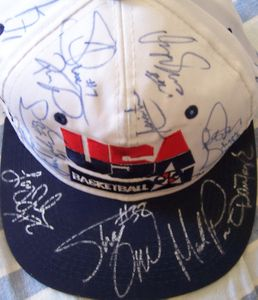1994 USA Dream Team 2 autographed cap Reggie Miller Alonzo Mourning Shaquille O'Neal Dominique Wilkins