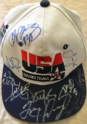 1994 USA Dream Team 2 autographed cap Alonzo Mourning Isiah Thomas Dominique Wilkins