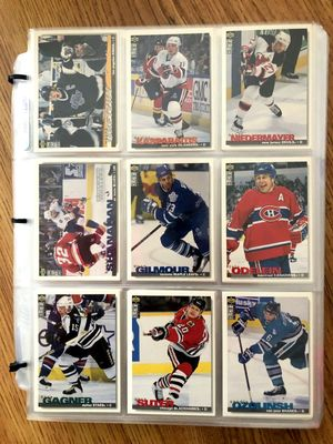1995-96 Upper Deck Collector's Choice NHL Hockey complete 396 base card set in Ultra Pro sheets