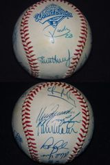 1995 Atlanta Braves team autographed World Series baseball (Bobby Cox Tom Glavine David Justice John Smoltz)