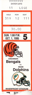 1995 Miami Dolphins at Cincinnati Bengals ticket stub (Dan Marino 450 passing yards)