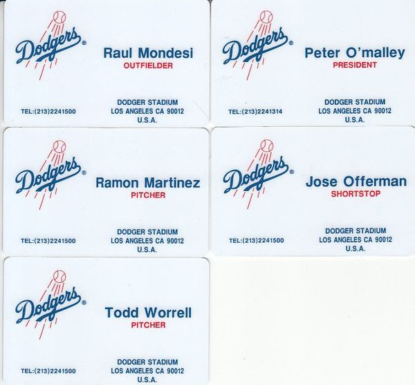 Lot of 5 1995 Los Angeles Dodgers Cardwon prototype plastic business cards (Ramon Martinez Raul Mondesi)