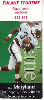 1995 Maryland Terrapins at Tulane Green Wave ticket stub (Jermaine Lewis)